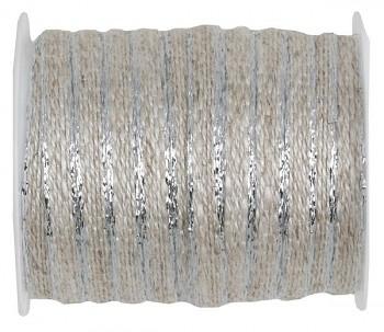 Ozdobná provázková stuha se stříbrným okrajem 6 mm x 5 m 731234852