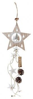 Závěsná dřevěná dekorace s hvězdou  67 cm 731234857