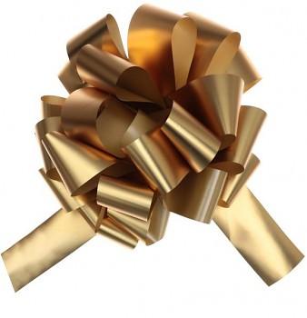Velká stahovací metalická mašle zlatá, 70 mm 731234859