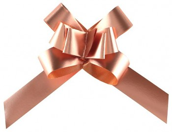 Malá stahovací metalická mašle, růžové zlato 14 mm 731234861
