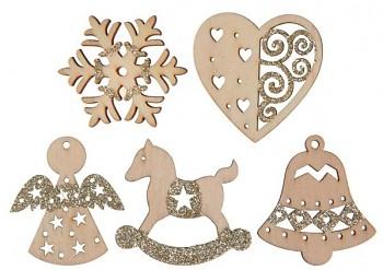 Třpytivá vánoční dekorace 18 ks, zlatá 4 x 4 cm 731234871