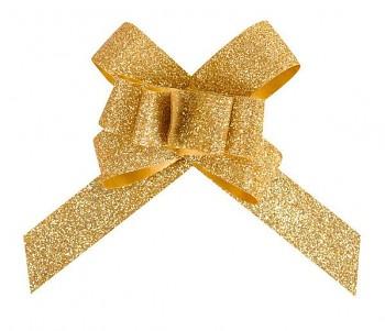 Glitrová stahovací mašle zlatá, 30 mm  731234993