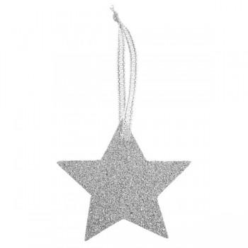 Jmenovky Stříbrná hvězda glitrová 6 ks 731235161