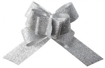 Glitrová stahovací mašle stříbrná, 30 mm 731235162