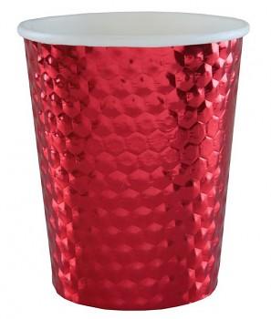 Metalické červené kelímky 10 ks, 7,8 x 9,7 cm 731235004