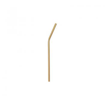 Nerezové brčko 21,5 cm x 0,6 cm, zahnuté, zlaté 731240731